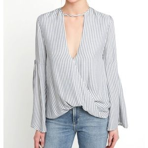 Bell sleeve striped blouse light blue